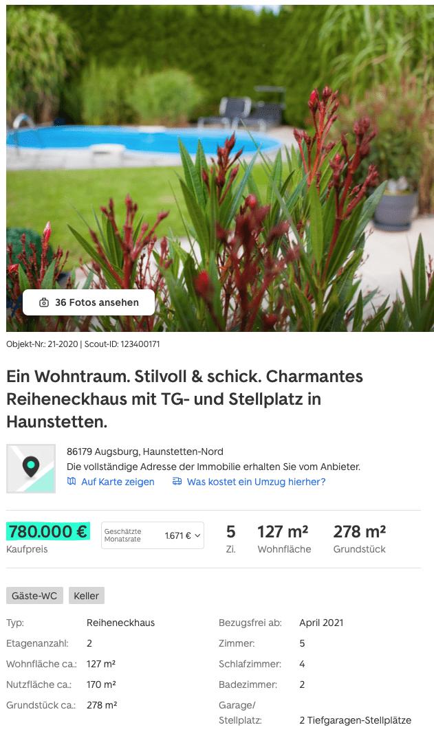 Reiheneckhaus in Augsburg Haunstetten